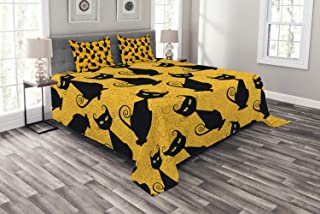 Ambesonne Vintage Bedspread, Black Cat Pattern for Halloween on Orange Background Celebration Graphic Patterns, Decorative Quilted 3 Piece Coverlet Set with 2 Pillow Shams, Queen Size, Black Orange
