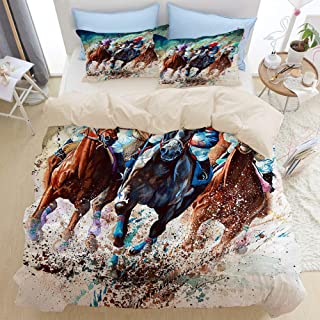 Mokale Horse Race Thoroughbred Equine Horses Artist Horse Racing Painting Watercolor Sports 3 Pieces Queen Duvet Cover Set with 2 Pillow Shams,Decor Cover Sets King Dorm Hotel,Reversible Beige