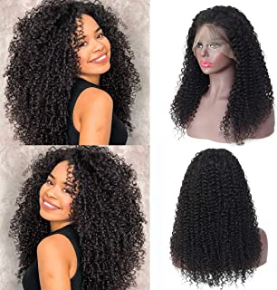 Lace Front Wigs Human Hair Pre Plucked, 150% Density Brazilian Kinky Curly Lace Frontal Wigs Human Hair with Baby Hair for Black Women(16''curly)