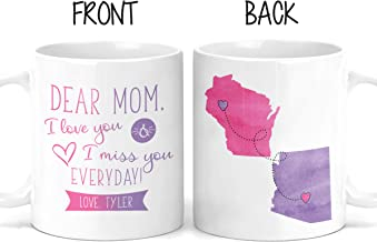 Personalized Long Distance Mother's Day Mug - Dear Mom - Gift For Mom - Mom Present - Coffee - Personalize - Birthday Gift - Mothers Day Gifts - From Daughter - Customized - M0479