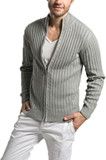 Yeokou Men's Autumn Stand Collar Full Zip Up Knitted Cardigan Sweater