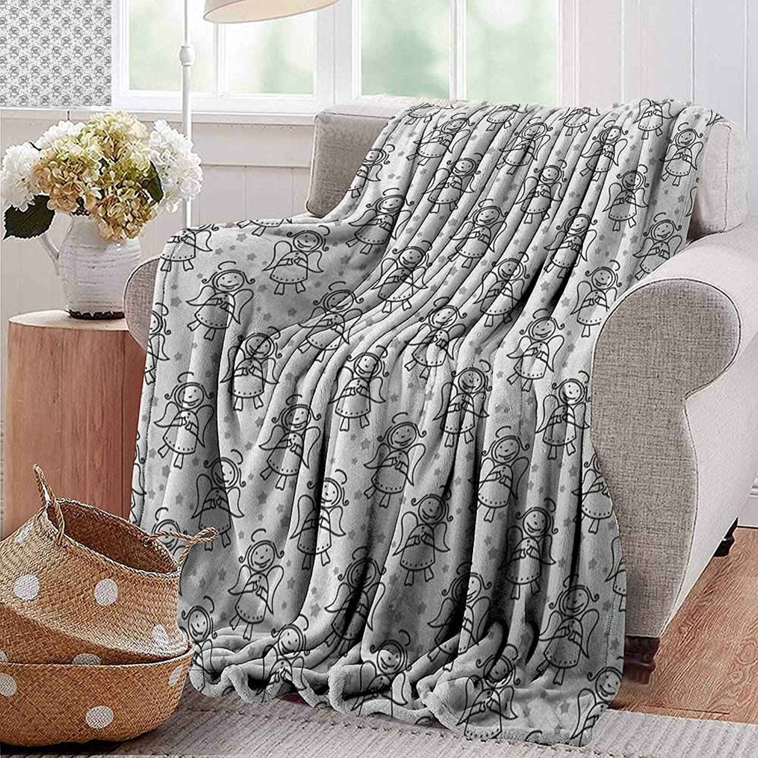 XavieraDoherty Cool Blanket,Angel,Christmas Angel Cute Winged Girl with Stars Heavenly Amusing Smiling Princess, Grey White Black,for Bed & Couch Sofa Easy Care 50 x70