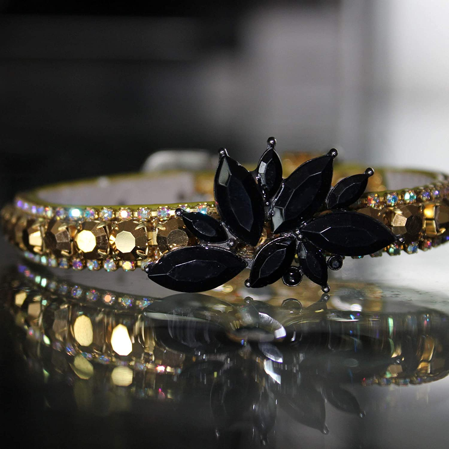 Dog Collars Black Onyx Jacksonville Mall Crystals with and Crysta Gold AB Rainbow Many popular brands