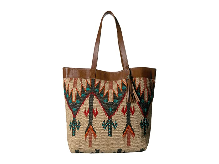 Scully  Belinha Woven Tote with Snap Closure (Multi Natural/Green/Tan) Handbags