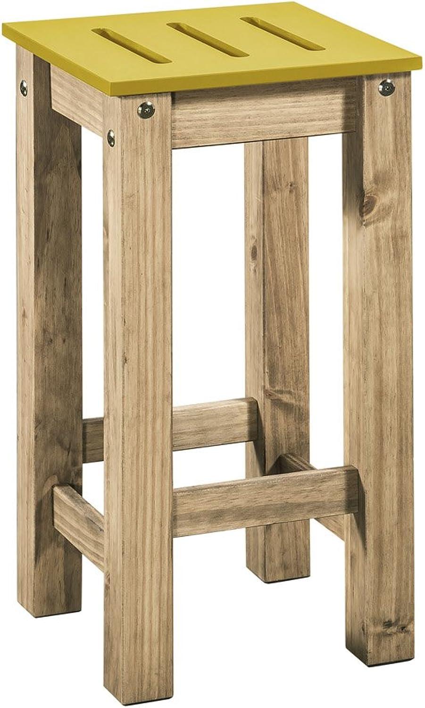 Manhattan Comfort CS1025 Mid- Century Modern 2-Piece Stillwell 24.8  Tall Barstool, Yellow and Natural Wood