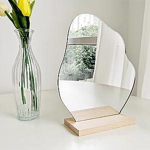 Aesthetic Room Decor Desk Mirror, Decorative Locker Mirror, Cute Room Decor Aesthetic Table Frameless Mirror, Asymmetrical Cloud Mirror