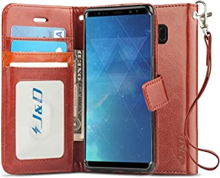 J&D Case Compatible for Samsung Galaxy Note 8 Case, [RFID Blocking Wallet] [Slim Fit] Heavy Duty Protective Shock Resistant Flip Cover with Card Slots for Galaxy Note 8 Wallet Case - Brown