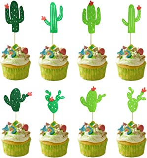 Newbested 24Pcs Cactus Cupcake Toppers For All Kinds Theme Birthday Party