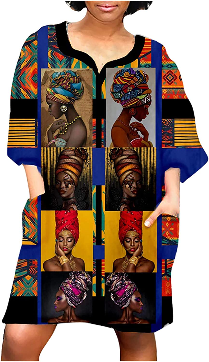 Women Fashion African Vintage Print Middle Sleeve V Neck Oversized Casual Mini Party Dress with Pockets