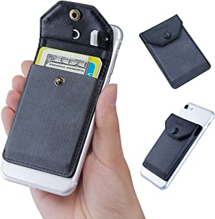 YUNCE Adhesive Phone Wallet & RFID Blocking Sleeve, Cell Phone Ultra-Slim Leather Wallet, Gray Stick On Card Holder fits Most Cell Phones & Cases, Credit Card Holder Pocket Wallet for Men Women