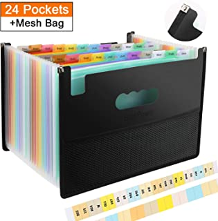 Accordian File Folder Organizer 24 Pockets Portable Expanding Filing Box with Mesh Bag Design,Accordion Plastic Folders,A4 Letter Size Expandable Document Organizer Wallet for Check/Bill/Receipt