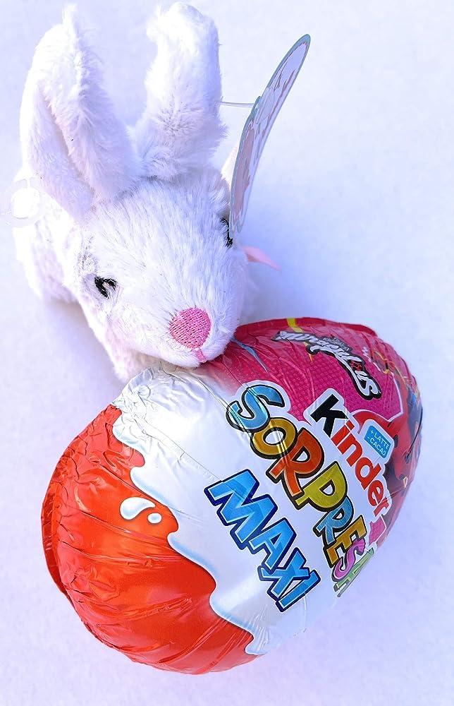 Uovo di pasqua kinder spider-man 100 gr,piu` peluche coniglietto bianco,SENZA GLUTINE