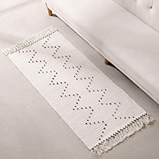 DOLOPL Boho Modern Runners Porch Rug Kitchen Runner Cotton Woven 2'x4' Entryway Mats with Tassels Machine Washable Easy to Clean for Kitchen Dining Room Laundry Bedroom(Off-White,Geometric Rug)