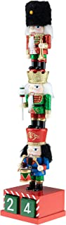 Clever Creations Wooden Stacked Chubby Nuctrackers with Countdown Calendar | Three Traditional Unique Mini Nutcrackers Stacked | Festive Christmas Decor | 14