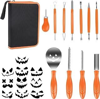 YILEEY Kit Citrouille Halloween, Kit Sculpture Citrouille 11 Pcs, Dessins de 10 Modèles de Gravure, Apportez Un Sac de Ran...