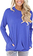 Krissry Women Casual Round Neck Long Sleeve Loose Sweatshirt T Shirt Blouses Tops