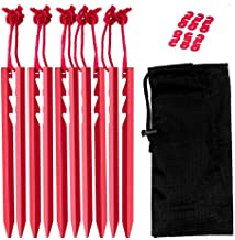 Outdoor Camping Tent Stakes Pegs – Lightweight Aluminum Tent Tarp Stake Peg for Camping & Hiking with Extra Long Reflective Rope and Carrying Pouch Bag