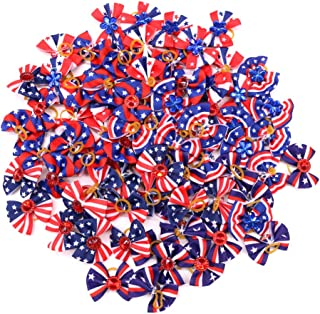20pcs Handmade Puppy Dog Cat Hair Bows for 4th of July Dog Bows US Flag Durable Rubber Bands Bows Red Blue White Pet Hair Accessories Pet Supplies