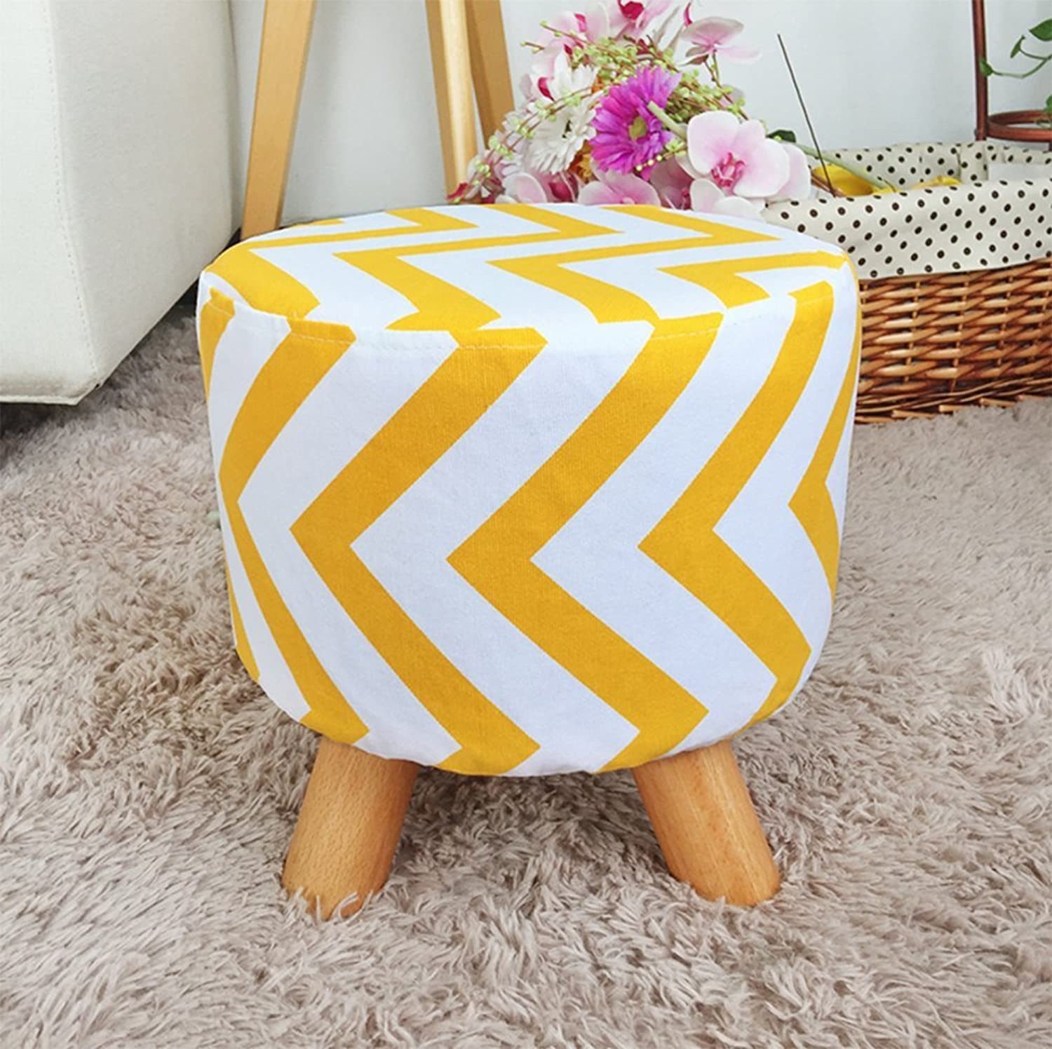 Cloth Small Stool, Creative Living Room Simple Stool, Sofa Stool Door Change shoes Bench Home Small Bench,Yellow