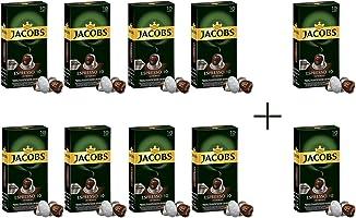 قهوة اسبريسو المركزة بدرجة 10 من جاكوبس، كبسولات قهوة من الالومنيوم متوافقة مع ماكينات نسبرسو - 8 عبوات + عبوتان (إجمالي...