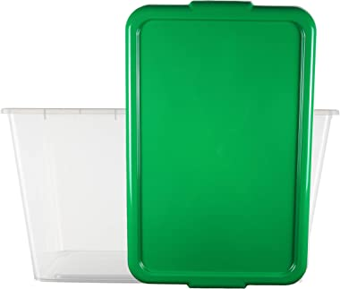 """SIMPLYKLEEN 4-Pack Clear Storage Totes with Lids (Green), 14.5-Gallon (58-Quart) Xmas Bins, 24"""" x 17"""" x 13"""" Holiday Organizer"""