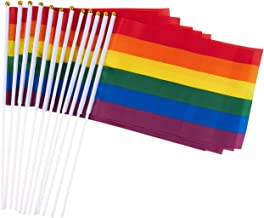 Juvale 12 Piece Set of Gay Pride Flags - Small Rainbow Flag, LGBT Stick Flags for Mardi Gras, Gay Pride, Rainbow Party Supplies - 11.7 x 7.7 Inches