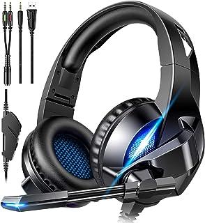 ゲーミングヘッドセット ゲーム ヘッドホン PC 高音質 有線 ヘッドフォン ps4 ヘッドセット LEDライト 重低音強化 折畳み式 軽量 通気 マ イク付き 騒音抑制 ノイズキャンセリング ゲーム用 パソコン switch スイッチ fps Nintendo Xbox One 男女兼用 (ブルー)