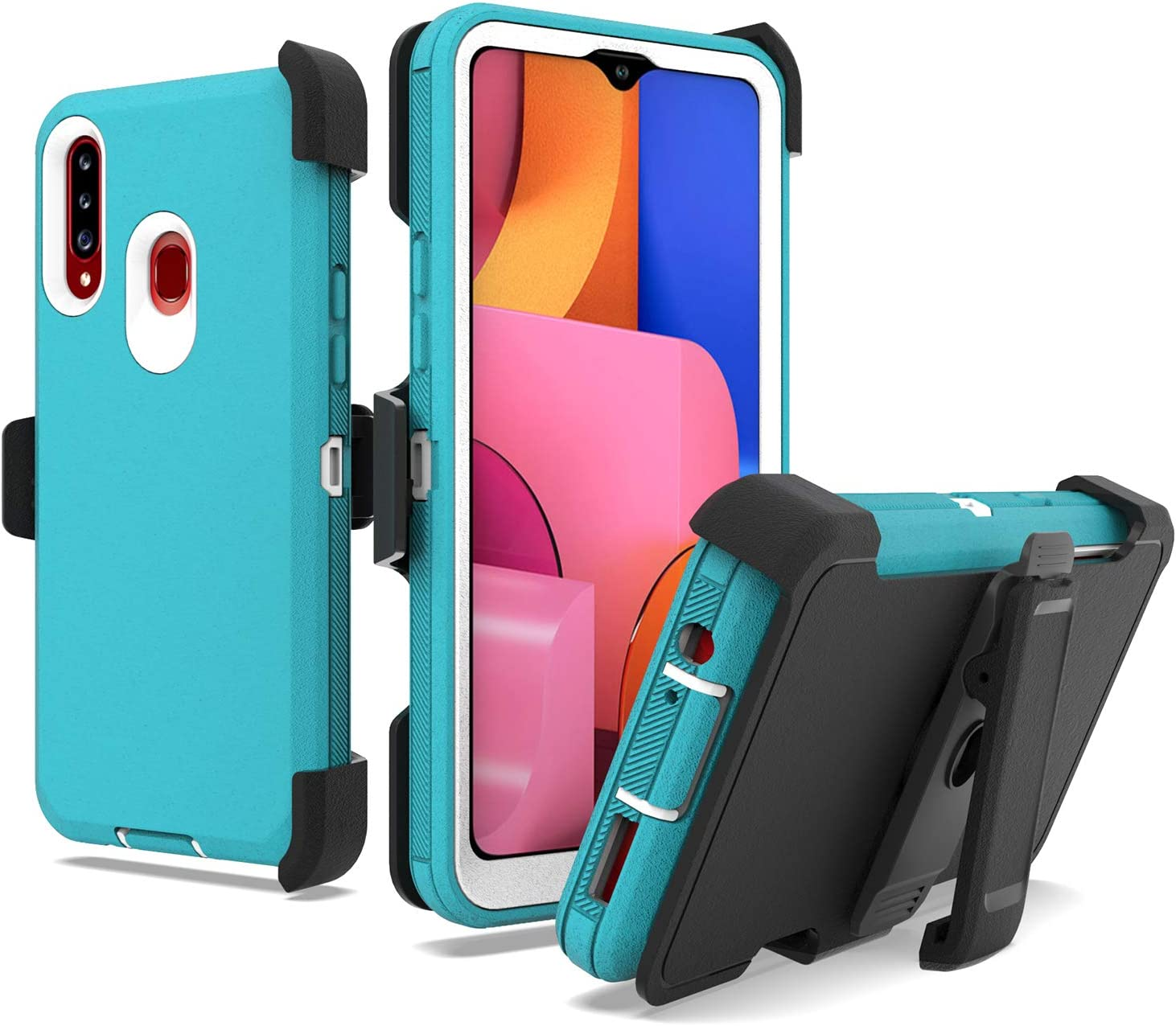 UNC Pro 3 in 1 Belt Clip Holster Cell Phone Case for Samsung Galaxy A20S (NOT for A20), Heavy Duty Hybrid Shockproof Bumper Case with Kickstand, Turquoise/White