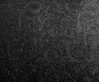 LUVFABRICS Black Western Embossed Floral Faux Leather Vinyl Upholstery Fabric Per Yard Shipped Rolled