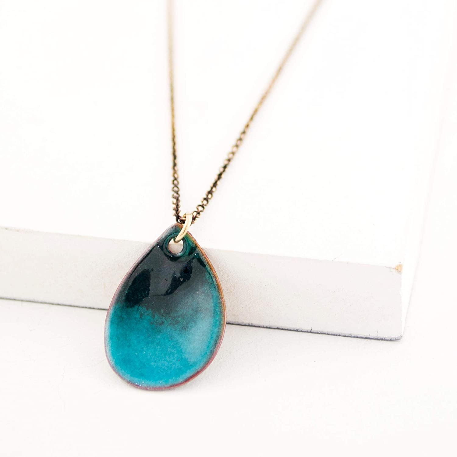 Turquoise enamel pendant necklace chain delicate with OFFicial Super special price site