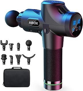 ABOX Pistolet de Massage Musculaire, Massage Gun avec 30 Niveaux Réglables et 8 Têtes de Massage, Ultra Silencieux pour Ré...