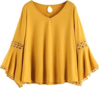 MakeMeChic Women's Bell Sleeve V Neck Contrast Crochet Lace Tee Shirt Blouse Top