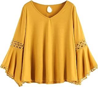 Women's Bell Sleeve V Neck Contrast Crochet Lace Tee Shirt Blouse Top