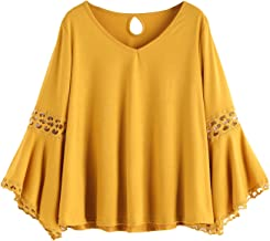 MAKEMECHIC Women's Bell Sleeve V Neck Contrast Crochet Lace Tee Shirt Blouse Top
