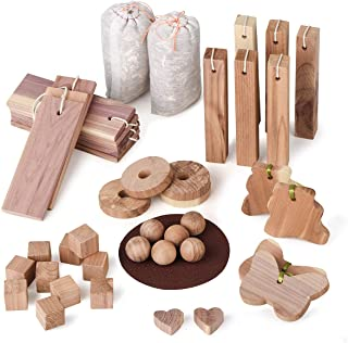 Cedar Rings,Cedarwooden Blocks for Hangers,Clothes Protector Storage Accessories,Set of 30