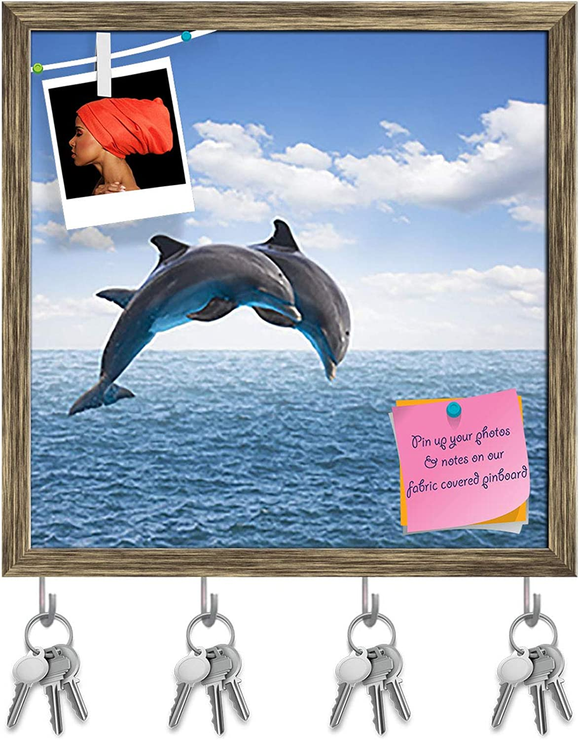 Artzfolio Two Jumping Dolphins Key Holder Hooks   Notice Pin Board   Antique golden Frame 20 X 20Inch