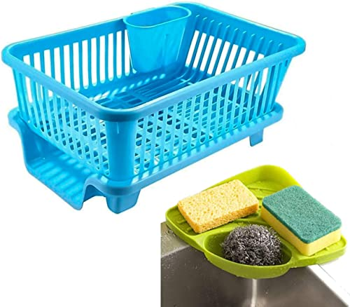 Zyomatiq Popular Combo Kitchen Sink Corner Organizer 3 in 1 Large Durable Sink Plastic Dish Rack Utensil Drainer Drying Basket with draining Tray After wash Cutlery Fork Organizer Multi Color