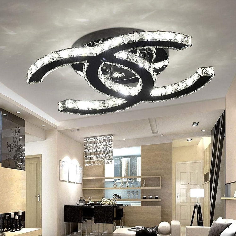 28W LED Deckenleuchte Moderne Einfache Romantische Wohnzimmer Esszimmer K9 Crystal Klar Deckenlampe Elegante Edelstahl Spiegel Lampe Creative Studie Deckenbeleuchtung Weies Licht 6000K L53cm  W40cm