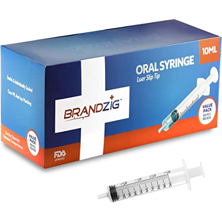 10ml Oral Syringes - 100 Pack – Luer Slip Tip, No Needle, Individually Blister Packed - Medicine Administration for Infants, Toddlers and Small Pets (No Cover)