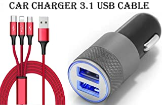 StuffHoods Car Charger For Xiaomi Redmi Note 5 (Redmi 5 Plus) Dual USB Port Car Charger High Speed Rapid Fast Turbo Metal Android Car Mobile Charger with 3 in 1 android type-c and ios USB Data Cable | Smart Charging with Quick Charge (3.1 Amp, Random)