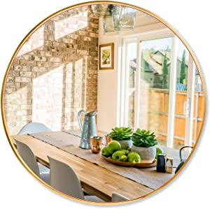 ZHUNFA Gold Wall Round Mirror, 32 Inch Large Circle Mirror with Metal Frame Hanging Mirror for Bathroom, Living Room, Bedroom