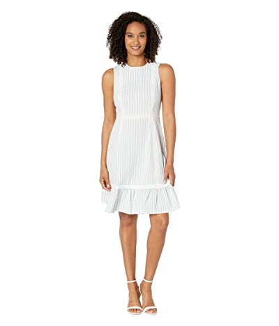 Calvin Klein Novelty Dress w/ Ruffle Hem (White/Blue) Women