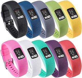 QGHXO Band for Garmin Vivofit 4, Soft Silicone Watch Band Strap for Garmin Vivofit 4 Activity Tracker, Small, Large, Ten C...