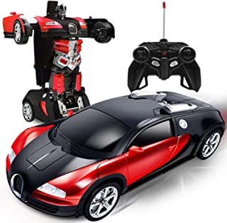 AMENON Remote Control Transform Car Robot Toy with Lights Deformation RC Car 2.4Ghz 1:18 Rechargeable 360°Rotating Stunt R...