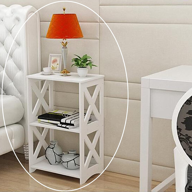 Riipoo Book Shelf, PVC Floor-Standing Bookshelf, 2-Tier Bookcase, Simple Assembly Rack Shelf Storage Organizer for Folder, Books, Magazine and Others, 15  x 9.5  x 23.6  (White)