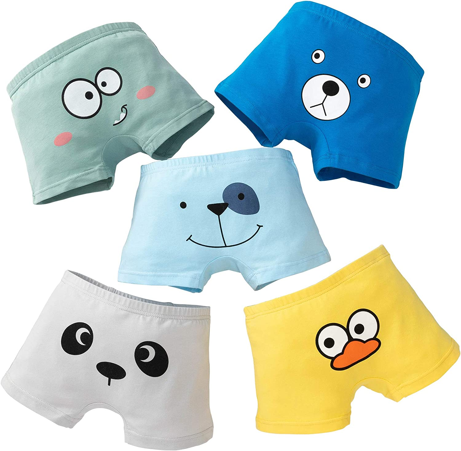 Core Pretty Boys Underwear Kids Cotton Boxer Briefs Animalface Training Boy Shorts for Toddler Size 3-12 Years (Pack of 5)