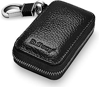 Buffway Car Key case,Genuine Leather Car Smart Key Chain Keychain Holder Metal Hook and Keyring Zipper Bag for Remote Key ...
