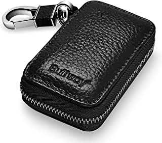 Buffway Car Key case,Genuine Leather Car Smart Key Chain Keychain Holder Metal Hook and..