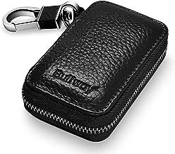 Buffway Car Key case,Genuine Leather Car Smart Key Chain Keychain Holder Metal Hook and Keyring Zipper Bag for Remote Key Fob - Black