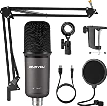 ZINGYOU USB Microphone Bundle ZY-UA1 PC Laptop Recording Condenser Mic Kit for Podcasting Gaming Streaming YouTube on macO...